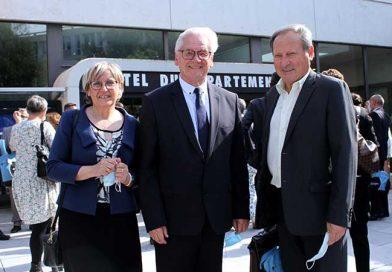 Jean-Claude Leroy, réélu président du conseil départemental, René Hocq et Carole Dubois installés dans leurs fonctions
